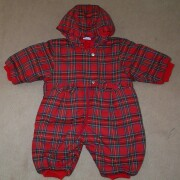 Lovely warm red tartan hooded snowsuit with frill round hood and 2 bows at