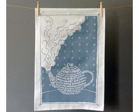 Teapot Tea TowelQuirky, stylish and the perfect tea towel for people who love a good brew!Made from 100% cotton and printed in Britain, this beautiful printed tea towel depicts a steaming hot teapot, made up using tea themed words, including Earl Gre