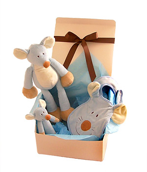 A fun-filled blue mouse gift set for baby with an animal to cuddle a rattle to play with and a bib.
