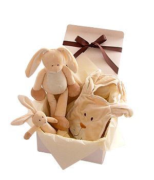 A fun-filled rabbit gift set for baby with an animal to cuddle a rattle to play with and a bib. The