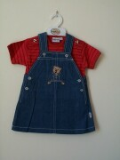 Denim pinafore with a lovely teddy appliqued on the front
