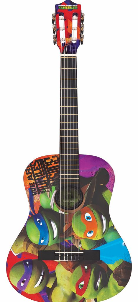 ideal for any budding 'shredder', learning to play guitar is a 'pizza' cake with this 3/4 size acoustic guitar outfit! With a bright purple wooden body and turtles graphics this guitar is fun to play. The nylon strings and classic style machine heads