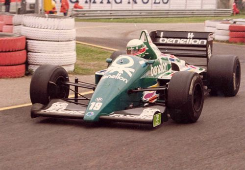 Teo Fabi in his Benetton 186 from the San Marino G