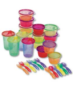 Includes: 4 spill-proof cups 10oz - easy sip spout design. 6 snack cups - 4 oz size is perfect for