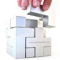 Bedlam Cube Puzzle - The `Platinum` Bedlam Cube Puzzle has a sleek silver finish. Being one solid