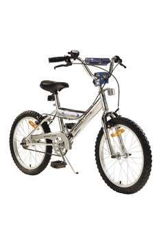 Oversize Y-style frame. High rise BMX handlebars. Handlebar and stem pads. Alloy wheels. Stabilisers