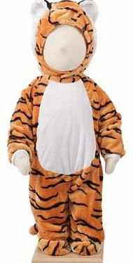 A plush tiger costume with a feature hood and a padded nose. Complete with tail and fake (soft) claws This style has a front zip for easy wear Suitable for height 86 to 92cm. For ages 18 months and over. Polyester. EAN: 5014568228986. (Barcode EAN=50