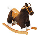 Adorable brown pony with wooden hand grips and soft saddle