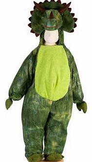 A plush Dinosaur costume with a big soft tummy and a feature hood with horns and spikes. Complete with a tail and fake (soft) claws Machine washable Suitable for height 98 to 110cm. For ages 3 years and over. Polyester. EAN: 5014568228450. WARNING(S)
