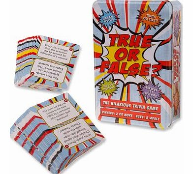 True or False GameThis fun trivia game is perfect for playing with friends and family, its a light hearted game that will bring hours of entertainment. If you can tell the difference between real and pretend, truth and lies, fact and fiction, then th