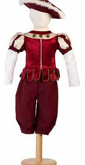 This red and gold majestic Tudor outfit comes with pantaloons and a tunic with brocade panelled sleeves. To complete the look this style comes with a faux fur edged hat Suitable for height 116 to 128cm. For ages 6 years and over. Polyester. EAN: 5014