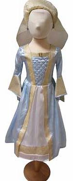 A powder blue Tudor gown with beautiful jacquard embellishment that comes with a lovely Tudor head dress with a veil. The hooped skirt gives the dress a great shape Suitable for height 98 to 110cm. For ages 3 years and over. Polyester. EAN: 501456822
