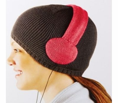 Tuned-In Knitted Beanie Hat with built in Headphones - Pink DesignIntroducing a cool knitted beanie hat with a difference - there are headphone speakers built directly into the hat.This particular hat has a pink knitted headphone design stitched dire