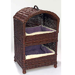 A handmade and stylish, two tier cat basket in buff willow. A unique and unusual piece of pet