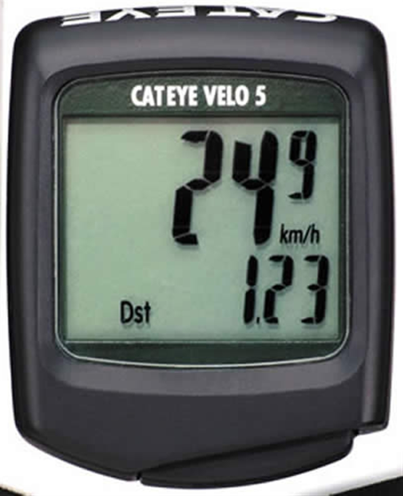THE VELO-5 INCLUDES FIVE POPULAR FUNCTIONS WITH A LARGER, EASIER TO READ DISPLAY.SINGLE BUTTON