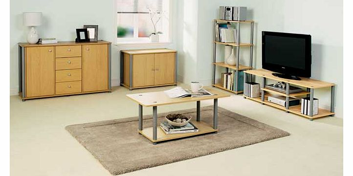 This beech effect coffee table has a modern look. with a silver coloured frame. An extra storage shelf gives you more flexibility. The sturdy. practical design is fantastic value for money. and looks great in any room of the house. Part of the Verona