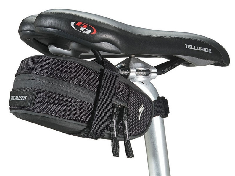 A mid sized seat bag designed to carry the essentials plus EMT tool, energy bars, cell phone, etc
