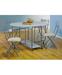 White finish MDF and metal frame table with 4 metal frame upholstered chairs. Size of table (L)135,