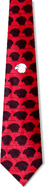 Black sheep on red silk with a single white sheep in the middle.