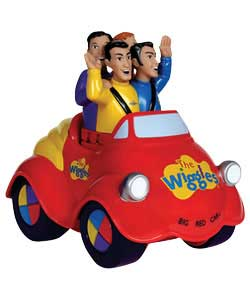 Watch the Wiggles ride in their famous big red car! Just push down on the top and it plays the