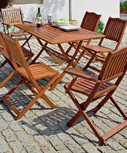 Rectangular folding table 150 x 86.5cm.4 folding chairs. 2 folding armchairs.Minimal assembly
