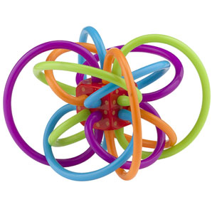 Winkel is a collection of colourful teething loops which radiate from a rattle in the centre. Can be