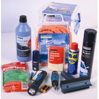 Kit includes:    Halfords screen wash 1L  Halfords aerosol deicer 400ml  Lock deicer aerosol