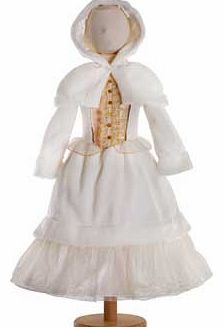 A sumptuous dress in warm ivory fleece. with a shimmery bodice and a statement jewelled organza frill. The sleeves and hem are trimmed with faux fur and there is a golden glitter net which peeps out from underneath the skirt This style comes with a h