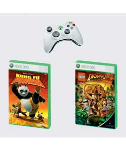 Entertainment pack includes Xbox 360 wireless controller and 2 great games - Lego Indiana Jones and
