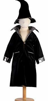 A black velour cloak with a silver brocade collar and silver cuffs. This style includes a black velour crooked Wizard hat Machine washable Suitable for height 116 to 128cm. For ages 6 years and over. Polyester. EAN: 5014568228559. WARNING(S): Not sui