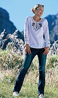 Long-sleeved embroidered tie-neck top. Washable. Cotton Voile