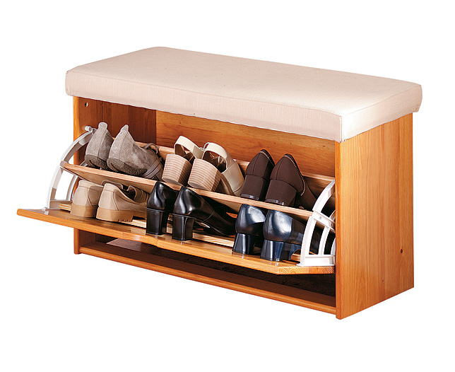 Wooden Shoe Bench. Ideal for the porch, hallway or bedroom, this smart little bench provides a comfo