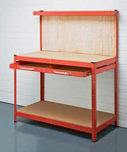 Heavy duty steel  work bench with red powder coated finish.Large capacity sliding drawer with 10in b