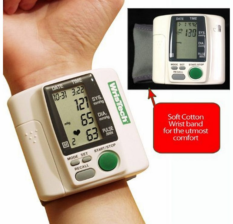 Self-inflating blood pressure monitor. Simply slips onto wrist. Easy-read display. Automatic memory records up to 99 readings. The simple and affordable way to keep track of your health.