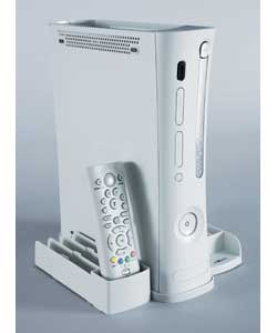 Contains console vertical stand with games storage, DVD remote control unit, and play and charge con