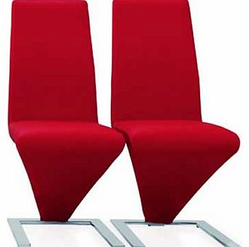Zed Pair of Chrome Dining Chairs - Red