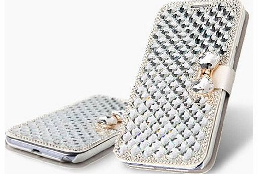 1X For Apple iPhone 4 4G 4S Diamond Rhinestone Bling Leather Flip Wallet Case Cover Glitter Book ID Card Case with Tie Bow - White