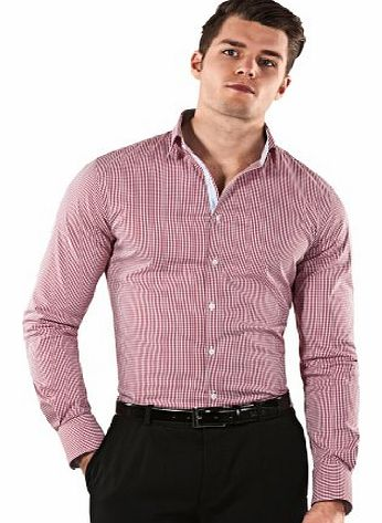 Shirt, body-fit (stretch, particularly cut to emphasize the figure), checked,39/40 cm - 15.75``,wine-red