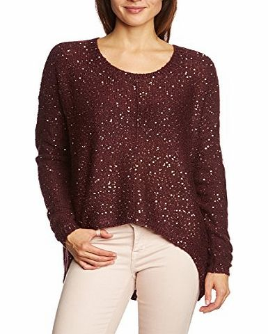 Womens ZAHRA MACRO LS BLOUSE Plain Crew Neck Long Sleeve Blouse Blouse, Red (Winetasting/Gold Sequins), Size 12 (Manufacturer Size: Large)