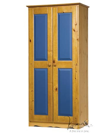 2 Door Blue Panelled Wardrobe