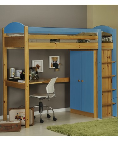 Blue Highsleeper Bed Desk and Wardrobe