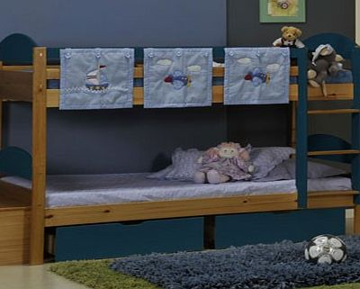 Maximus Antique 3ft Bunk Bed With Blue Details