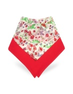Red and White Flowers and Ladybugs Chiffon Silk Square Scarf