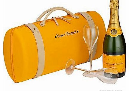 Champagne with Glasses (Veuve Clicquot, with a pair of Champagne flutes inside a travel case)