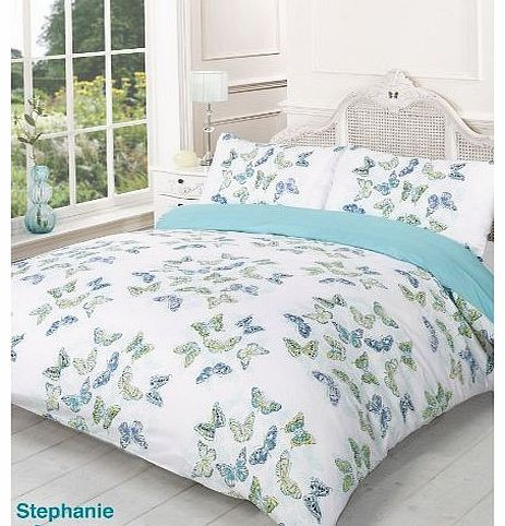 Stephanie Reversible Summer Butterfly King Bed Size Duvet Cover Set