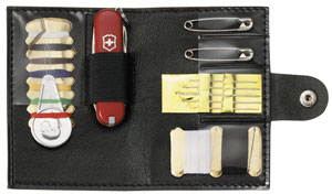 Penknife - Classic with Sewing Kit in Black Leather Case - Ref. 4.361.3