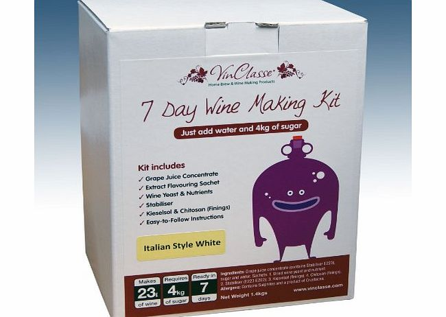 VinClasse® Home Brew amp; Wine Making - VinClasse® Italian Style White Wine 7 Day (Sugar Required) Ingredient Kit For 30 Bottles