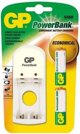 GP S360 PowerBank 2-Battery Charger & 2