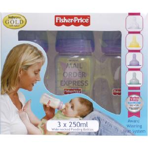 Fisher Price 3 x 250ml Wide Necked Feeding Bottles