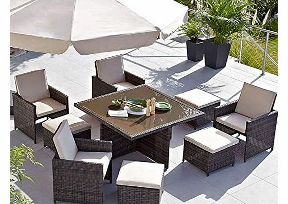 Rattan Garden Furniture Outdoor Patio 9 Piece Cube Set With Glass Table Waterproof Furniture Sets